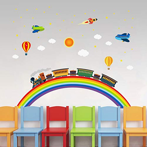 Rainbow Train Wall Stickers DIY Rocket Airplane Wall Decals Art Decor for Kids Nursery Bedroom Living Room