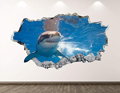 "West Mountain Shark Wall Decal Art Decor 3D Smashed Kids Animal Sticker Mural Boys Custom Gift BL26 (22"" W x 14"" H)"