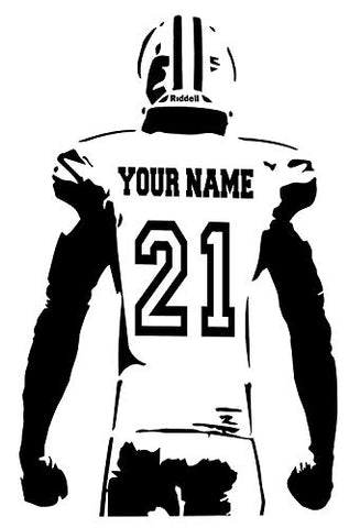"Personalized Custom Football Wall Decal - Choose Your Name & Numbers Custom Player Jerseys Vinyl Decal Sticker Decor Kids Bedroom (18"" W x 30"" T)"