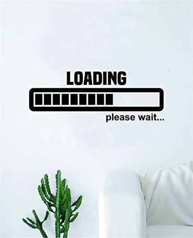 Loading Please Wait Wall Decal Sticker Vinyl Art Bedroom Living Room Decor Decoration Teen Quote Inspirational Boy Girl Game Gaming Video Games Retro Old School Controller Cool PC Pixel