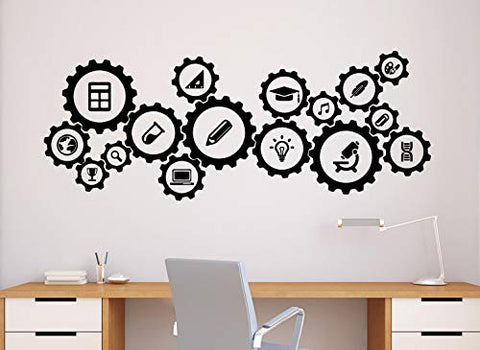 Gears Mechanism Wall Decal Engineering Vinyl Sticker Science Education Home Office School Decor Interior (72n)