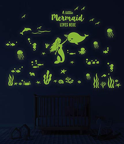 Glow in The Dark Mermaid Narwhal Fish Wall Stickers, Under The Sea Party Wall Decal for Kids Rooms, Glowing Stickers for Ceiling, Nursery Decor for Girls Boys, Birthday Christmas Gift for Kids