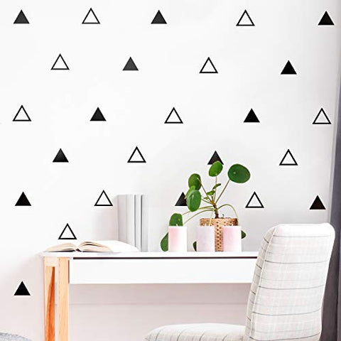 "Set of 30 Vinyl Wall Art Decals - Triangle Patterns - 3"" x 4"" Each - Modern Geometric Shapes Decor for Home Apartment Workplace Living Room Bedroom Office Apartment Stickers (3"" x 4"" Each, Black)"