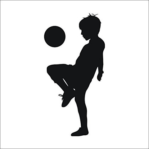 Boy Playing Football Wall Decal Teen Soccer Ball Silhouette