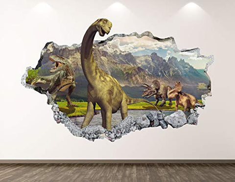 "West Mountain Dinosaur Wall Decal Art Decor 3D Smashed Animal Landscape Sticker Poster Kids Room Mural Custom Gift BL373 (22"" W x 14"" H)"
