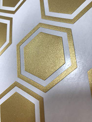 JUEKUI Set of 100 Gold Honeycomb Wall Decal Sticker Geometric Hexagon Honey Comb Wall Stickers Removable Vinyl Wall Decor for Kids Rooms Decoration WS10 (Gold)