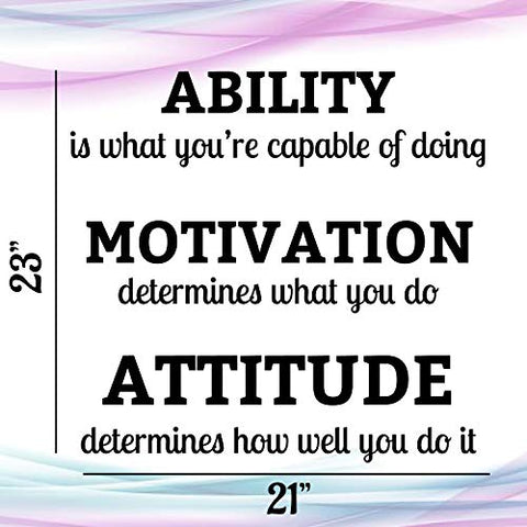 Ability Motivation Attitude | Inspirational Saying Home Decor Decals Quote | 23 H x 21 W inches | Three Pieces | Motivational Gym Wall Art Decoration