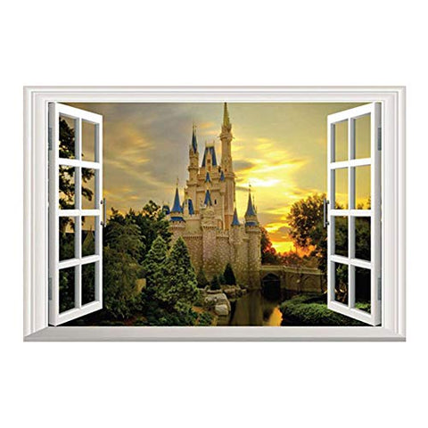 3D Full Color High Definition Dreaming Ancient Old Castles False Faux Window