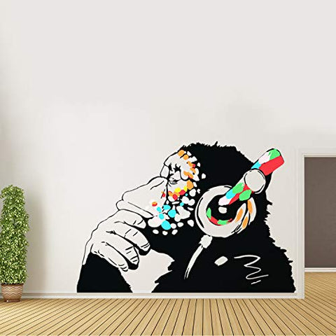 Banksy Thinking Monkey Sticker - Art Vinyl Street Dj Baksy Wall Decal - Headphones Chimp Music Thinker Graffiti Mural - Boy Smart Decals