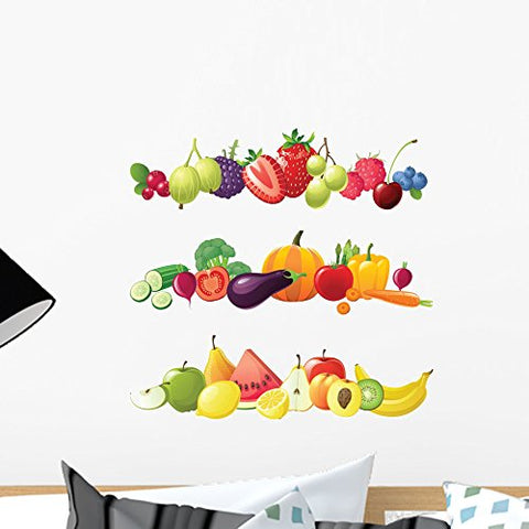 "Wallmonkeys FOT-33091637-18 WM138735 Fruits Vegetables and Berries Borders Peel and Stick Wall Decals H x 18 in W, 18"" 18"" W-Small"