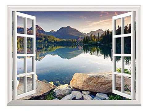 "wall26 Removable Wall Sticker/Wall Mural - Wild Flowers in Spring (36""x48"", Peaceful Lake)"