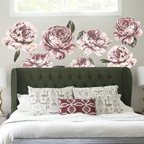 Flower Wall Decor. Peel and Stick Colorful Peony Flower Wall Decals, Easy to Reposition and Remove.