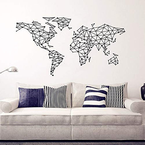 Geometric Design World Map Wall Decal Home Decoration Art Special World Map Interior Home Decor Mural Living Room Art Vinyl Map Poster Y-793