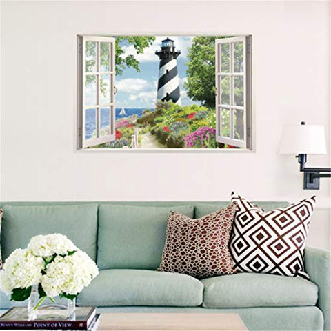 Weisfe78 1 pc PVC 3D Simulation Window Lighthouse Wall Decals Removable Peel and Stick Wall Stickers Living Room Bedroom Background Wall Decoration Wall Sticker, 50X70cm