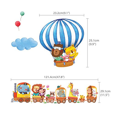 Animal Train and Hot Air Balloons Kids Wall Decals Wall Stickers Peel and Stick Removable Wall Stickers for Kids Nursery Bedroom Living Room