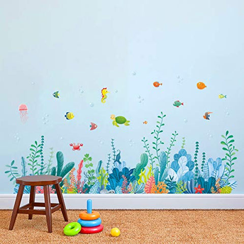 decalmile Under The Sea Seaweed Wall Corner Decals Fish Jellyfish Ocean Grass Baseboard Skirting Line Wall Stickers Baby Bedroom Bathroom Living Room Wall Decor