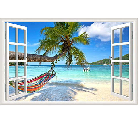 Beach Seascape Window Wall Sticker Palm Tree and Hammock Fake Window Wall Decals Removable Tropical Sea Window View Wall Stickers Decal for Living Room