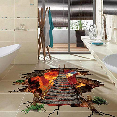 3D Floor/Wall Sticker,Cool Lava Bridge, Removable Mural Decals Vinyl Art Living Room Decors