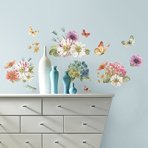 RoomMates RMK3262SCS Lisa Audit Garden Bouquet Peel And Stick Wall Decals ,Multi  Color