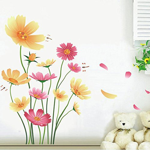 Chrysanthemums Flowers Butterflies Dragonflies Wall Decal Garden PVC Home Sticker House Vinyl Paper Decoration WallPaper Living Room Bedroom Kitchen Art Picture DIY Murals Girls Boys kids Nursery Baby