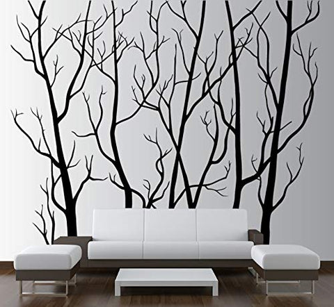 "Large Wall Vinyl Tree Forest Decal Removable Sticker with Birds 96"" (8 Feet) Tall X 113"" Wide #1111 (Matte Black)"