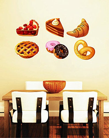 STICKERSFORLIFE Cik1051 Full Color Wall Decal Sweet Cakes Donuts Food Snack Restaurant Bakery