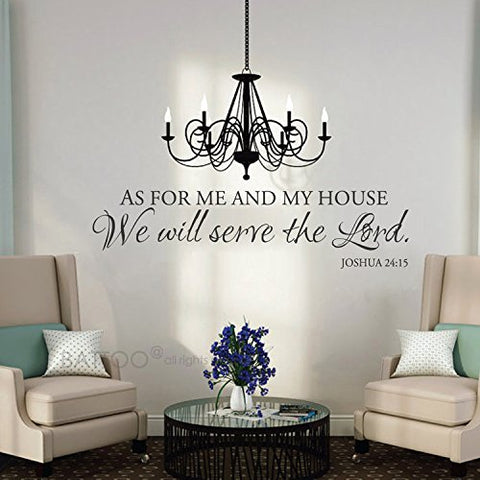 "BATTOO As for Me and My House Wall Decal - Scripture Quote Vinyl Decal - Vinyl Lettering - Vinyl Wall Decal - Bible Verse - Christian Wall Art(Black, 30"" WX7.5 H)"