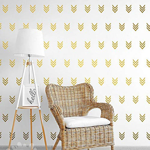 JUEKUI Set of 96 pcs Matte Gold Tribal Arrow Stickers Wall Decal Geometric Modern Triple Arrows Wall Stickers for Nursery Kids Bedroom Home Decoration Decor WS06 (Gold)