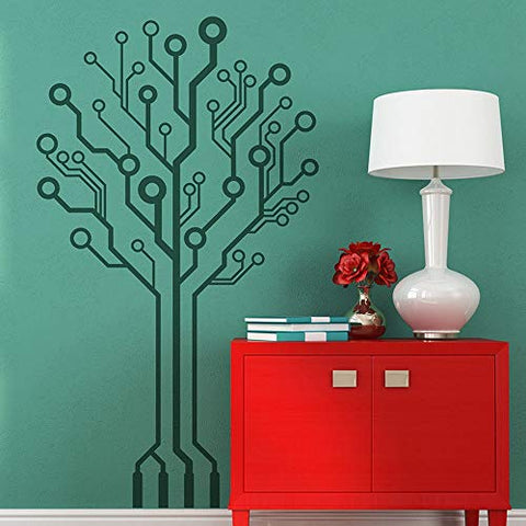 Matius Circuit Tree Geek Wall Decal Baby Nursery Kids Room Geekery Computer Science Circuit Board Wall Sticker Bedroom Vinyl Decor