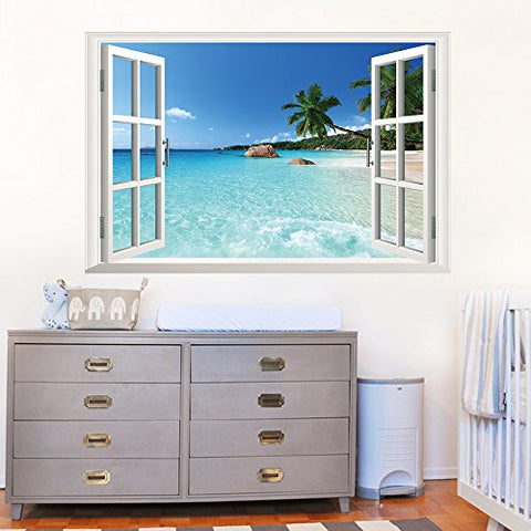 U-Shark 3D Large Removable Sea Beach Vinyl Wall Decal Sticker for Dining Room, Bedroom,Window (Seaview)