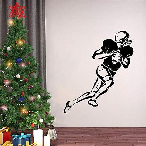 Home Find Football Player Silhouette Mural a Player with Ball Football Wall Sticker Rugby Wall Decal Sport Theme Wall Arts Peel and Stick for Kids Room Baby Boys Bedroom 23.2 inches x 27.6 inches