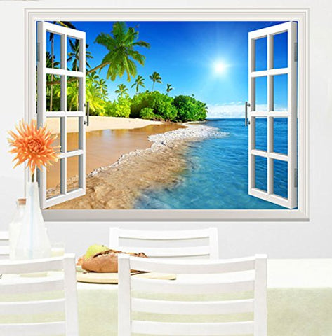 "Wall26 White Beach with Blue Sea and Palm Tree Open Window Mural Wall Decal Sticker - 36""x48"""