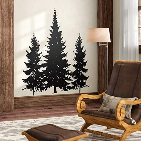 N.SunForest Pine Evergreen Trees Vinyl Wall Decal Home Decor
