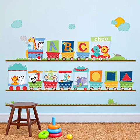 Animal Train Wall Stickers Giraffe Elephant Alphabet Wall Decals Art Decor for Kids Bedroom Nursery Playroom