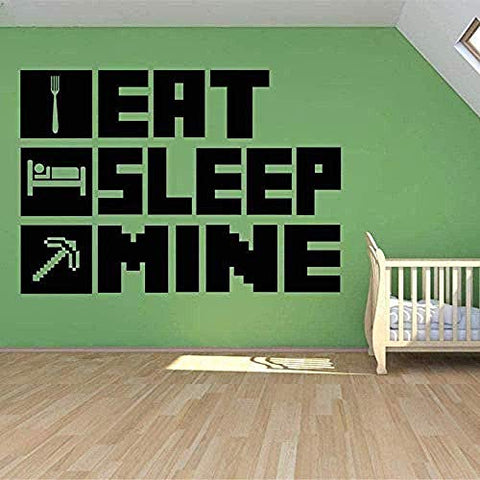 Eat Sleep My Gaming Poster Wall Sticker for Kid Room Decoration Mural Minecraft Vinyl House Sticker Bedroom Decor 56X76 cm