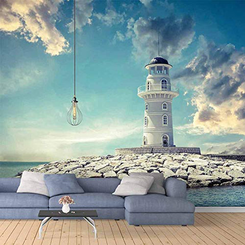 SIGNFORD Wall Mural The Seaside Lighthouse Removable Wallpaper Wall Sticker for Bedroom Living Room - 66x96 inches
