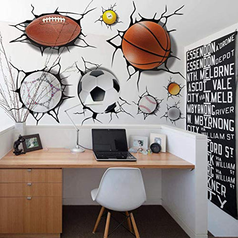 U-Shark 3D Self-adesive Removable Break Through The Wall Vinyl Wall Stickers/Murals Art Decals Decorator Kid's Favor (2080 Sports Basketball Football Soccer Tennis(50x70cm))