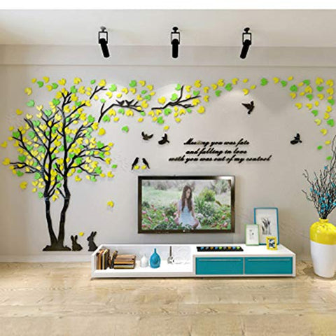 KINBEDY Acrylic 3D Tree Wall Stickers Wall Decal Easy to Install &Apply DIY Decor Sticker Home Art Decor. Tree with Yellow and Green Leaves.