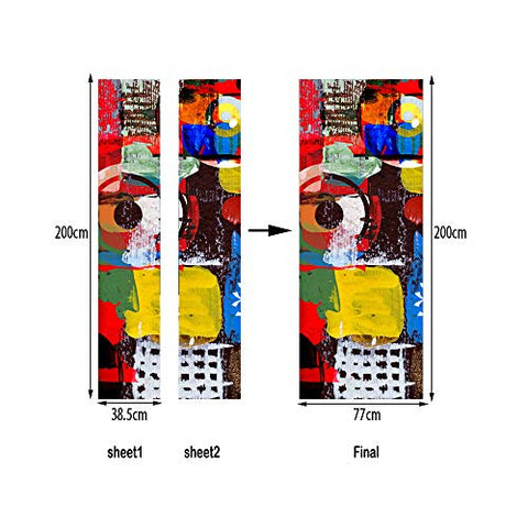 "MISSSIXTY 3D Door Wall Mural Wallpaper Stickers Vinyl Removable Decals for Home Decoration 30.3"" x 78.7"" (Graffiti Art)"