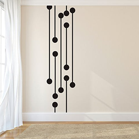 "Vinyl Wall Art Decal - Geometric Digital Circuit - 60"" x 16"" - Trendy Modern Decor for Home Living Room Bedroom Office Workplace Peel Off Vinyl Sticker Decals (60"" x 16"", Black)"