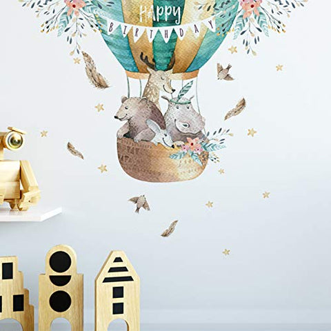 Hot Air Balloon Wall Decals Cartoon Animals Wall Stickers for Kids Room, Colorful Balloon Wall Posters Cute Art Murals for Nursery Bedroom Boys Room
