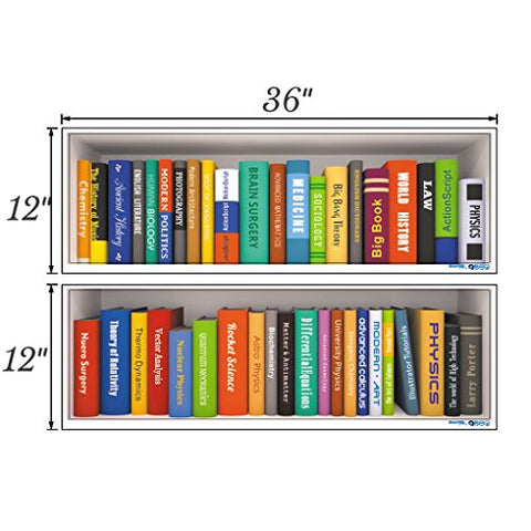 Woodland Arts 35 inches x 24 inches Fake Book Shelf Colorful Various Books Wall Decal Stickers for Classroom Office Bars
