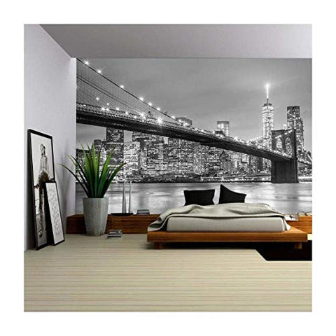 wall26 - Brooklyn Bridge and New York City Manhattan Downtown Skyline at Dusk with Skyscrapers - Removable Wall Mural | Self-Adhesive Large Wallpaper - 66x96 inches