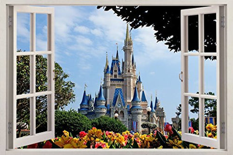 Disney Castle 3D Window Effect Decal Wall Sticker Mural Disney for Children's Room J168, Huge