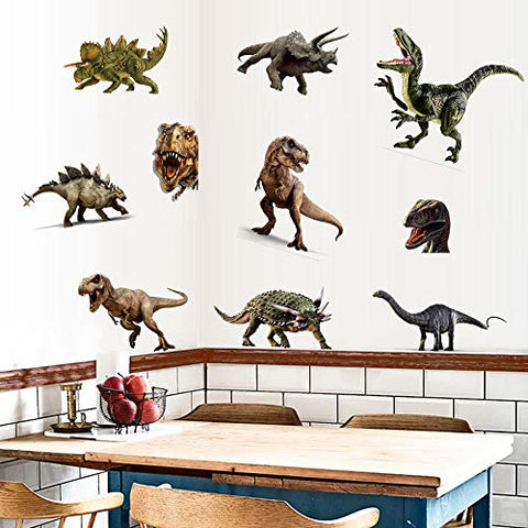 Dinosaur Wall Stickers, Peel & Stick Removable Wall Art Sticker Decals for Kids Bedroom Nursery Playroom,Multicolor