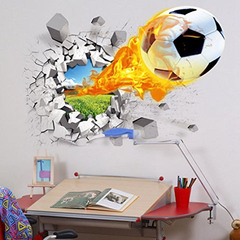 Break Through The Wall Vinyl Football Soccer Wall Stickers