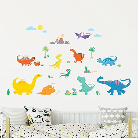 DECOWALL DW-1703 Colourful Dinosaur Kids Wall Decals Wall Stickers Peel and Stick Removable Wall Stickers for Kids Nursery Bedroom Living Room