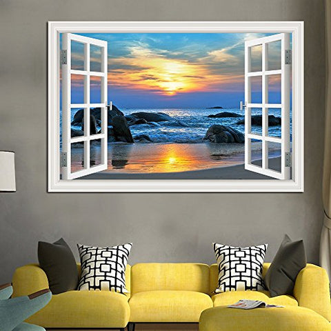 "AlexArt 3D Window Decal Wall Stickers Sunset Seaside Home Decor Mural Art Vinyl Wallpaper 32""X48"""