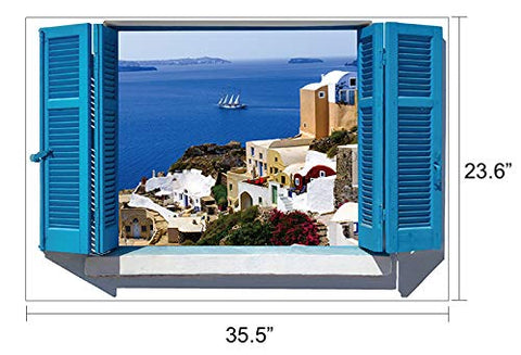 "Fabulous Decor City by The Water 3D Window View Sticker of Greece Wall Decal 20"" H X 28"" W"