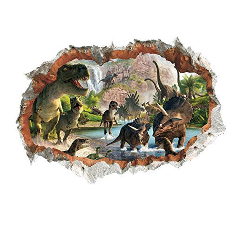 MLM 3D Dinosaurs Simulation Crack Hole Stickers Self-Adhesive Peel and Stick Wall Decal Mural Living Room Bedroom Kids' Room Nursery Decor Playroom Decor